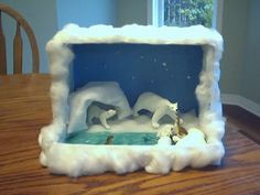 a arctic Diorama Arctic Habitat, Bear Habitat, School Projects, Projects For Kids, Crafts For Kids, Project Ideas, Artic Animals, Animals For Kids, Animal Habitats