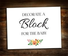 Decorate a Block Sign  Baby Shower Sign  by GalleriaDesignStudio