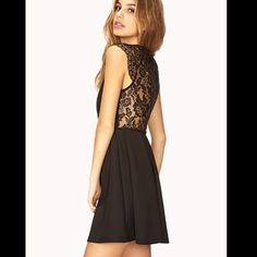 Forever 21 back lace dress Spring is coming! And if black is your favorite color you'd love this one. Back and shoulder lace. Bought this but never wore it. New W/O tags. Forever 21 Dresses Mini