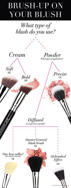 Discover your perfect blush brush with our quick quiz! Then shop blush brushes: http://www.sigmabeauty.com/category_s/100.htm?click=246498_source=Pinterest_medium=Post_term=20130718_content=Blush+brushes_campaign=repromo #sigmabeauty #infographic