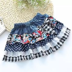 Baby Girls Hot Sale Skirts Patchwork Lace Flowers Bow Denim Pleated Skirt Honey Girl Kids All Season Clothing Children Clothes Baby Girl Tutu, Little Girl Dresses, Baby Dress, Girls Dresses, Baby Girls, Party Dresses, No Sew Tutu, Toddler Skirt, Clothes Pictures