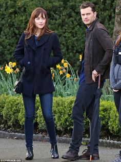Focused: The co-stars were seen taking a break in between shooting scenes for the second i...