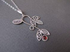 Filigree NecklaceSilver necklace Israel jewelry Garnet
