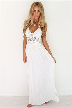 New Fashion White Sling V-Neck Backless Sexy Dress Sleeveless Hollow Out Summer Women Beach Dress