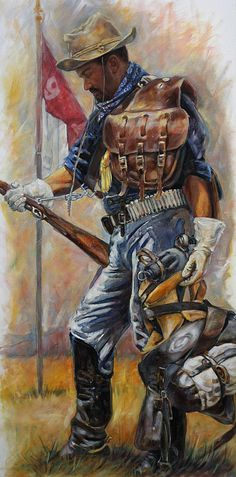 Buffalo Soldier Painting - Buffalo Soldier Outfitted by Harvie Brown