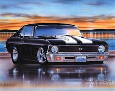 1970 Chevy Nova SS Muscle Car Art Print w/ Color Options