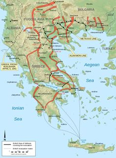 Map of the battle of Greece in April 1941 during World War II. Albania, Bulgaria, Europe Day, Military Tactics, Invasion Of Poland, Roman Republic, The Third Reich, Thessaloniki, Historical Maps
