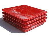 Glass Coasters - Red & Streaky White - Set of 4