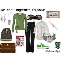 On the Hogwarts Express, Slytherin Style, created by heroandluna
