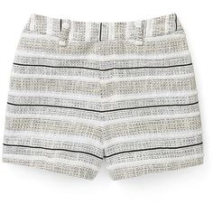 Rebecca Minkoff Antiope Short (310 CAD) ❤ liked on Polyvore featuring shorts, short shorts, shiny shorts, stripe shorts, striped shorts and black and white stripe shorts