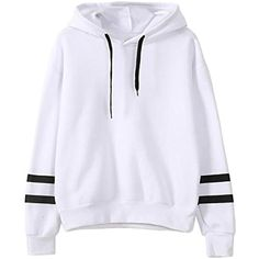 Womens Stripe Drawstring Pullover Outwear Fleece Hoodie Sweatshirt * Learn more by visiting the image link. (This is an affiliate link) #FashionHoodiesSweatshirts