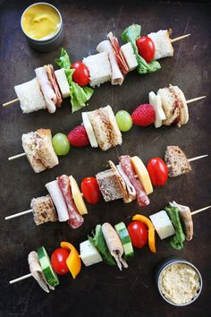 Sandwich on a Stick Recipes on twopeasandtheirpod.com A fun way to eat sandwiches and perfect for school lunches! Kids and adults will love these creative sandwiches!