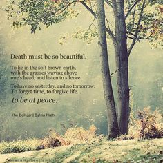 death must be so beautiful...to be at peace -sylvia plath