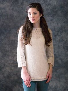 This pullover is knit in one piece with eyelets that decorate the hem, sleeves and neckline.   This free pattern is available exclusively as a print-friendly PDF file - it's easy to read and requires less paper when printed. To download the pattern, just click the PDF link above.  Trouble getting the PDF? Make sure you've downloaded the latest version of the free Adobe Reader software.