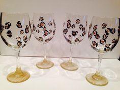 Diy crafts wine glasses black and gold leopard design paint sararodgersartwork