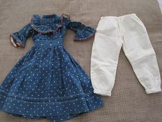 19th Century Early Blue Calico Dress