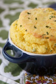 Sweet Corn Spoonbread {2 Ways- with cheese and chives, and sweet honey!}  A holiday fave!