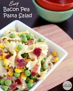 Easy Bacon Pea Pasta Salad- A yummy pasta salad made with peas, corn and bacon tossed in lemon garlic butter. Sooo good!