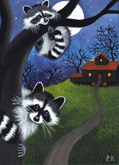 aceo print raccoon halloween haunted house by WoundedTreeGallery