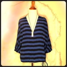 BCBGMAXAZRIA Striped Silk Top Make a statement of BCBg Hali Blouse Larkspur Blue Black Comb Drawstring Silk Boxy Top.  • Lightweight striped silk woven, • V-neck with faux sailor collar, • Long batwing sleeve, • Drawstring hem, • Boxy fit, • 100% Silk. BCBGMaxAzria Tops Blouses