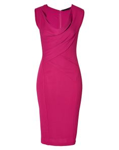 Immaculately cut with a flattering draped neckline, this bright pink sheath from Donna Karan lends a flawless polish to work and cocktail looks alike
