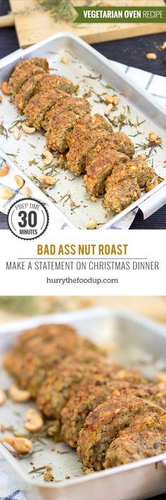 Modern Nut Roast. Prep Time 30 minutes, Roast Time 40 minutes | #Christmas #vegetarian | hurrythefoodup.com