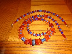 Beautiful matching amber and lapis lazuli necklace and bracelet. ORIGINAL, 1 of a kind, STATEMENT piece, challenge items, unheated amber - pinned by pin4etsy.com