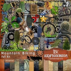 Mountain Bike Sport themed scrapbook Kit MOUNTAIN BIKING , bikes, wheels, gears, mud, tires, cactus,water bottle and biking embellishments