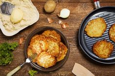 Latke recipes for Hanukkah includes variations with chicken liver pate, smoked sablefish and spice poached pear. Chicken Liver Pate, Chicken Livers, Zucchini Latkes, Poached Pears, Potato Pancakes, Galette, Smoked Salmon, Tandoori Chicken, Cornbread