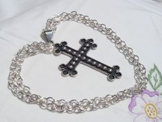 Sterling Silver Necklace with Sterling Silver Cross, Heavy Cable Sterling Silver Necklace, Cross Necklace by ClareCorreCreations on Etsy https://www.etsy.com/listing/152126763/sterling-silver-necklace-with-sterling