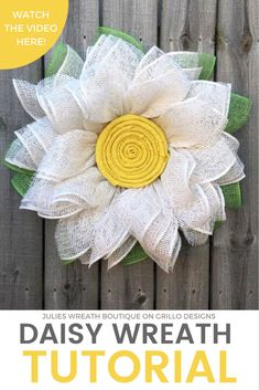 A Burlap Daisy Wreath Tutorial – Perfect For Spring! Learn how to make this one of a kind burlap daisy wreath for your front door this spri.DIY Burlap daisy wreath - easy spring or summer decorHow gorgeous is this daisy wreath made from burlap? Sunflower Burlap Wreaths, Burlap Flowers, Fabric Flowers, Floral Wreaths, Burlap Crafts, Wreath Crafts, Diy Wreath, Snowman Wreath, Wreath Ideas