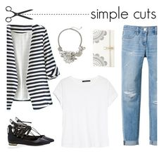 """""""Simple Cuts Blazer, White T, Jeans"""" by mk-style ❤ liked on Polyvore featuring White House Black Market, WithChic, MANGO, Catherine Stein and Lipsy"""