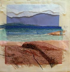 """Alison Holt, """"I am revisiting an idea of using torn and layered paper collage then adding stitching for detail and definition."""""""