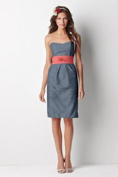 slate blue with cameo sash. In love. Someone get married in spring and have this be a bridesmaid dress. And than ask me to be your bridesmaid :)