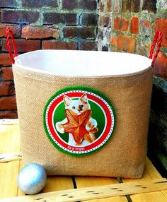 CHRISTMAS GIFT BAG Cat Toys Basket Storage by GretsPetShop on Etsy