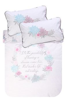 """Go to bed with this inspirational quote and wake up feeling motivatedThis 132 thread count polycotton duvet cover set has a feminine script placement print creating a classic look for any room. Single and three quarter include 1 standard pillowcase, double, queen, king and super king include 2 standard pillowcases.<div class=""""pdpDescContent""""><BR /><BR /><b class=""""pdpDesc"""">Fabric Content:</b><BR />45% Cotton 55% Polyester<BR /><BR /><b class=""""pdpDesc"""">Wash Care:</b><BR>Lukewarm machine…"""