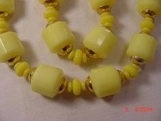 Vintage Yellow Plastic Beads Necklace  18  252