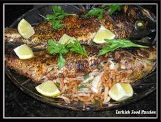 Turkish Food Passion: Broiled/Grilled Black Sea Bass Stuffed with Onions (Soğanlı Izgara Levrek Balığı)