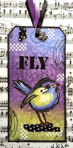 cute handmade tag ... MadeByCHook .... cute  bird ... FLY ... purple, yellow, green ... polka dot strips (washi tape?)
