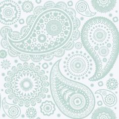 Paisley Crescent Pale Verdigris (AZDPT019 Verdi) - Mini Moderns Wallpapers - A beautiful paisley design with quirky detailing within the design itself. Detailing includes houses, birds and bicycles. Shown here in pale verdigris and white . Please ensure you order a sample to appreciate the true beauty of this design.
