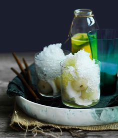 Coconut snow cones with young coconut and pineapple-ginger syrup - Gourmet Traveller