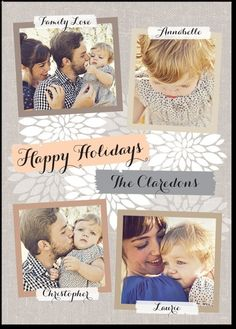 Grey and cream white holiday photo card. Printed Linen (with back design)