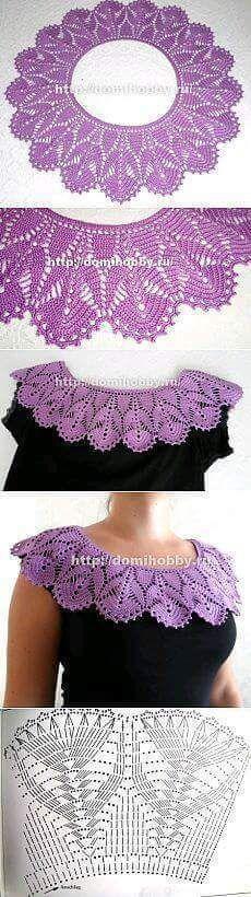 New Crochet Lace Collar Simple Ideas Col Crochet, Crochet Lace Collar, Crochet Diagram, Crochet Blouse, Thread Crochet, Filet Crochet, Crochet Scarves, Crochet Motif, Crochet Shawl