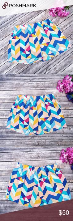 Everly Colorful Geometric Shorts  ★ Like new condition.  ★ Adorable geometric shorts from Everly! Perfect for spring, summer, and festival season!  ★ 100% Polyester. ★ NO TRADES!   ★ NO MODELING!  ★ YES REASONABLE OFFERS! ✅ ★ Measurements available by request and as soon as possible.  Everly Shorts