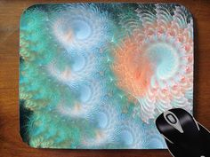 Fractal design abstract mouse pad blue green by SeaconnetLoft, $15.00