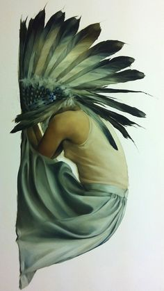 """""""Vulnerable Strength 2"""" - Amy Judd, oil on camas {contemporary figurative artist kneeling female native-american indian headdress woman rotated 90°CW painting}"""