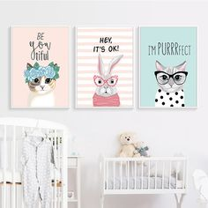 """""""Kawaii Cartoon Animal Wreath Rabbit Cat A2 A3 A4 Canvas Art Abstract Print Poster Picture Children's Bedroom Nordic Decoration"""" Abstract Wall Art, Abstract Print, Canvas Art, Canvas Prints, Poster Pictures, Print Poster, Painting Frames, A3, Rabbit"""