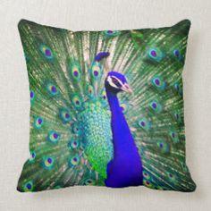 Shop Peacock Throw PIllow created by SeaGlassJourney. Peacock Pillow, Peacock Pictures, Peacock Decor, Blue Feather, Beautiful Wedding Cakes, Pillow Talk, Peacocks, Bohemian Pillows, Custom Pillows