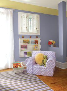sweet & stylish purple kids' room - yukon sky 1439 (walls), yellow lotus 2021-50 (soffit), paper macheAF-25 (ceiling)