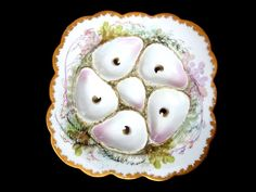 Antique Oyster Plate ~ Hand Painted Sea Weed & Fauna